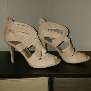 Nude colored strappy heels